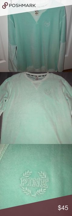 Mint Green Victoria Secret Pink Sweater - Never worn - New with tags - Mint green  - No thumb holes - No hood - Size runs big PINK Victoria's Secret Sweaters Crew & Scoop Necks