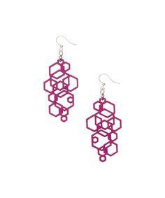 Look at this #zulilyfind! Fuchsia Hexagon Cluster Drop Earrings #zulilyfinds