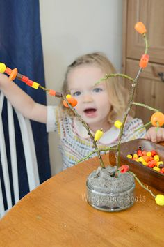 Beaded Autumn tree for fine motor threading  Wings and Roots