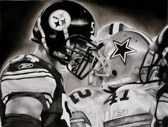 Steelers vs. Dallas Cowboys Charcoal Drawing by Brad Williams, www.charcoalsandcigarettes.com