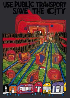 Kunstdruck Poster: Save the city von Friedensreich Hundertwasser Friedensreich Hundertwasser, Rem Koolhaas, Queen Elizabeth 2, Think Tank, Colorful Paintings, Outsider Art, Klimt, Art Plastique, Teaching Art