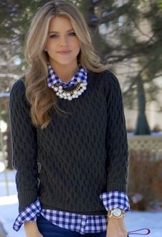 Blue And White Gingham Button Down - Perfect Street Style
