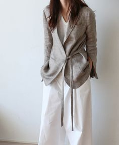 summer business casual linen outfit