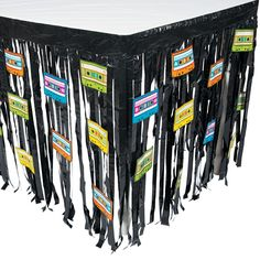 If you're planning a party, you're going to need this plastic table skirt for your party decorations! Your party will absolutely scream when neon cassette tapes join your party supplies! x © OTC 90s Theme Party Decorations, 80s Theme, Party Themes, Party Ideas, Theme Parties, Event Ideas, 80s Birthday Parties, Birthday Ideas, 40th Birthday