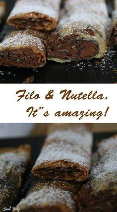 Filo & Nutella. It's amazing! #recipe #Nutella #Filo