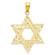 14k Gold Polished Star of David Charm, Women's