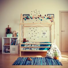 Montessori house bed, toddler bed and children beds by SweetHOMEfromwood House Frame Bed, House Beds, Wooden Bed Frames, Wood Beds, Teepee Bed, Nursery Crib, Bed Legs, Thing 1, Kid Furniture
