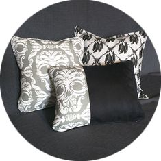 This luxurious pair of matching throw pillows is as unique as you are, with multiple options for customization including feather/down inserts, custom trim and and your choice of over 350 fabric designs.  Every Pillow comes standard with a zipper closure and Polyester filled insert.