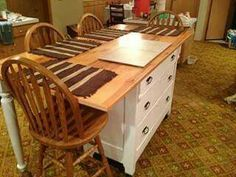 Old dresser makes a cool kitchen island