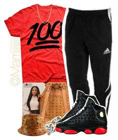 """Untitled #457"" by trill-forlife ❤ liked on Polyvore featuring MCM, adidas, Blue Nile and Mark Davis"