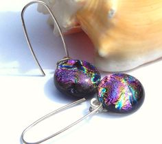 Drop Earrings  Fused Glass Jewelry  Dichroic by TremoughGlass, $19.00