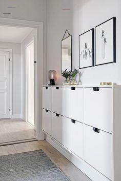 Ikea Hallway, Hallway Lamp, Hallway Furniture, Hallway Storage, Ikea Entryway, Gray Hallway, Bedroom Furniture, Bedroom Storage, Storage Headboard