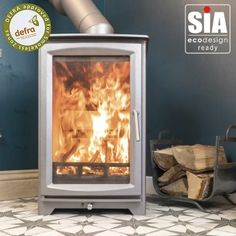 """Ecosy+ Hampton Highline 5kw Defra Approved - Ecodesign Ready (2022) - 7 Year Guarantee - Woodburning Stove """"Burnt Grey"""" Cheap People, Stoves For Sale, Into The Fire, Chrome Handles, Steel Plate, The Smoke, Unique Colors, Wood Burning, About Uk"""