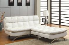 Amazon.com: Furniture of America Ethel Leatherette Convertible Sofa and Chair Set, White: Home & Kitchen