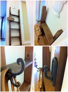 vintage ladder with coat hooks Old Wood Ladder, Vintage Ladder, Purse Rack, Purse Storage, Furniture Plans, Furniture Makeover, Ladder Hanger, Hanging Purses, Bunk Bed Ladder
