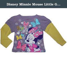 Disney Minnie Mouse Little Girls Long Sleeved Shirt (4T). Disney Minnie Mouse Little Girls Long Sleeved Shirt. Purple Shirt with Yellow Sleeves, 100% Cotton.
