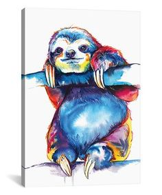 Sloth Watercolor Wrapped Canvas