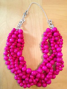 Hot Pink Statement Necklace Fall Statement by TheEnchantingOwl, $21.97