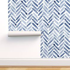 Colorful fabrics digitally printed by Spoonflower - Inidgo Blue Painted Chevron