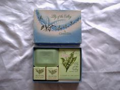 vintage  lily of the valley toilet set