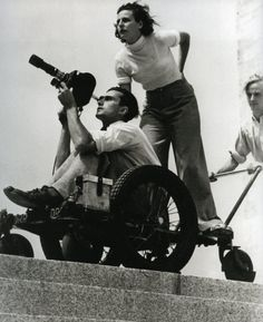 Leni Riefenstahl and Walter Frentz making the Olympia-Film in Berlin.