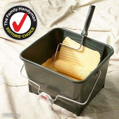 One of our pro painting consultants turned us on to this paint bucket, and we think it's perfect for DIYers, too. We like it because it holds more paint than a tray so you don't have to refill as often. And unlike a tray, it's easy to move around without spilling. You'll find the Wooster 4-gallon paint bucket at some paint stores and online.
