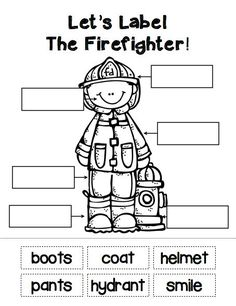 """great for letter F! Sample student labeling page from """"The People In My Community"""" pack. Read and learn about all sorts of community helpers. Community Helpers Kindergarten, Kindergarten Social Studies, School Community, Teaching Social Studies, Kindergarten Worksheets, Community Helpers Crafts, Kindergarten Writing, Preschool Lessons, Preschool Activities"""