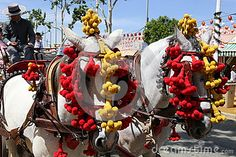 Car or horse carriage with ornaments on the horse ride at the fair in Seville, Andalucia, southern Spain.