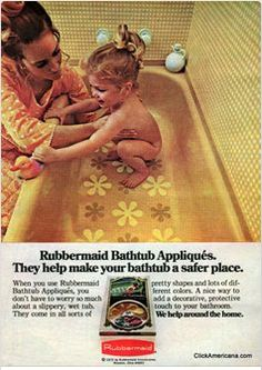 Rubbermaid flower Bathtub Appliques. I think you could find these in the bathtubs at all the homes in the 70's!