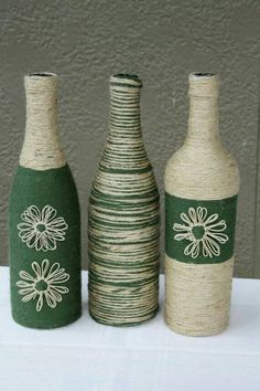 Pin by Felicita Coy on Diy Ideas Wrapped wine bottles, Wine diy wine bottle crafts with twine - Diy Wine Bottle Crafts Wine Bottle Glasses, Wine Bottle Corks, Glass Bottle Crafts, Diy Bottle, Glass Bottles, Bottles And Jars, Wrapped Wine Bottles, Twine Bottles, Altered Bottles
