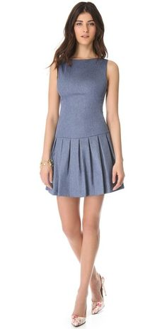 alice + olivia  Drop Waist Chambray Dress love this designer