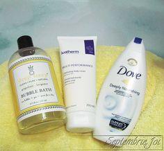 Sick Bathtime Essentials: Deep Steep Grapefruit & Bergamot Bubble Bath, Ivatherm Multi Performance body cream, Dove Deeply Nourishing Body Wash & a fluffy towel Body Creams, Bubble Bath, Bergamot, Body Wash, Grapefruit, Sick, Towel, Bubbles, Essentials