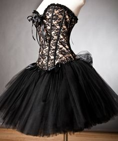 black and lace corset dress
