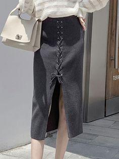 Women Skirt Black Polyester Mid-calf Length Natural Waist Autumn And Winter Bottoms Cotton Skirt, Calves, High Waisted Skirt, Classy, Lingerie, Mens Fashion, Casual, Skirts, Sweaters