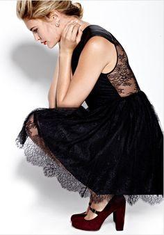 Cute black lace dress + oxblood heels