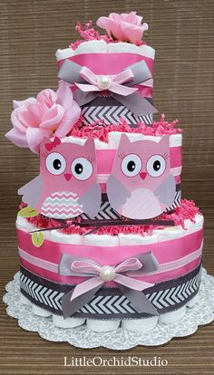 Pink Owl diaper cake/ Twin baby girls/ Its a by LittleOrchidStudio