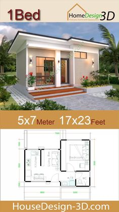 House design Plans with One Bedroom Flat roof The House has: -Car Parking and garden -Living room, -Dining room -Kitchen Bedrooms, 1 bathroom -washing room diy videos teenage House design Plans with One Bedroom Flat roof Flat Roof House Designs, House Front Design, Tiny House Design, Modern House Design, Shed Roof Design, Flat Roof Design, Architect Design House, Design Homes, Dream House Plans