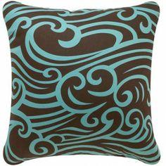 Eco Art Cocoa-Aqua Wave Design Pillow