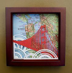 Golden Gate Bridge Paper Cutting by Emily Brown of bird mafia.