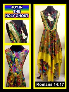 "The Master's Touch Creations Garments & Instruments features our overlay called ""JOY IN THE HOLY GHOST"". This overlay has rich color rainbow tones of with gold accents. The bodice is made with a spandex fabric. In the front is a insert designed with a gold hologram and a multi tone sequin fabric, centered is a dove applique. This vibrantly colorful garment will definitely proclaim Joy. Visit our website at: www.themasterstouchcreations.com"