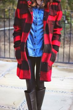 Cozy Oversized Coat With Chambray and Long Boots
