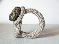 Knot bracelet, neutral beige wool bracelet, handmade  fabric flower button.