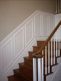 How can I add wainscoating to my staircase? idea...familyroom, paint different colors