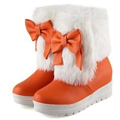 Womens Warm Comfy Sweet Candy Color Bowknot Round Toe Thick Sole Dress Platform Slip On Flat Ankle Snow Boots Booties Shoes 6 US 37 EU Orange -- Check this awesome product by going to the link at the image.