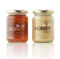 "This is the packaging that Turner Duckworth designs for Waitrose honey products, directly shows products to receivers, and performs confidence. The design focuses on honey logo, which perfectly combines ""E"" and ""Honey"". Honey Packaging, Food Packaging, Brand Packaging, Packaging Design, Branding Design, Clever Packaging, Innovative Packaging, Glass Packaging, Identity Branding"