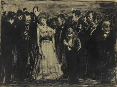 Artwork by George Bellows, THE INVINCIBLE MISS BROWN, Made of ink and pencil on paper