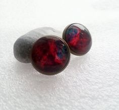 GALAXY earrings gift idea for her for kid for girl gift package glass stud earrings