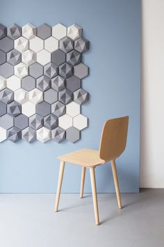 A collection of two, geometrical wall tiles that add texture and dimension to any plain wall with their asymmetrical and flat-topped surfaces.