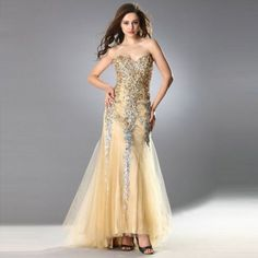 Mermaid Evening Dresses Handmade Crystal Prom Gown