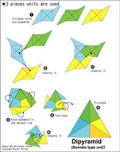 Origami Dipyramid instructions - Easy Origami instructions For Kids Origami Pig, Easy Origami Flower, Origami Ball, Origami Dragon, Origami Love, Origami Folding, Origami Animals, Paper Crafts Origami, Origami Design